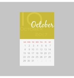 Calendar 2017 months October Week starts Sunday vector