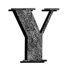 Capital letter y the original texture lines dots vector
