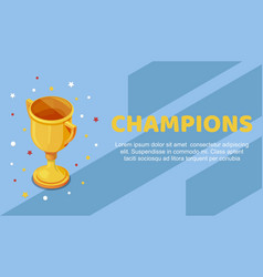 champion golden trophy cup with colorful stars vector image
