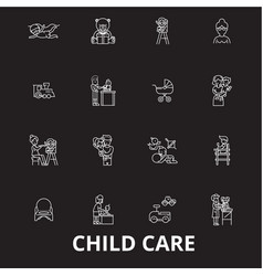 child care editable line icons set on black vector image