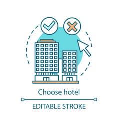 Choose hotel concept icon vector