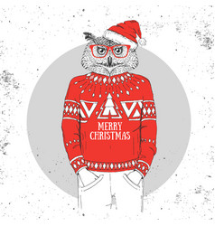 Christmas hipster fashion bird owl vector