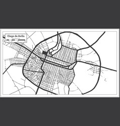 Ciego de avila cuba city map in black and white vector