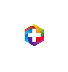 colorful geometric hexagon medical head logo vector image