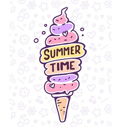 colorful of very high ice cream with text on vector image