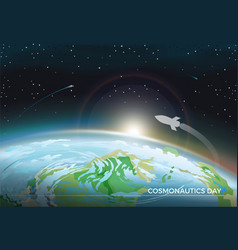cosmonautics day space poster vector image