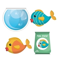 Cute fish colors isolated icon vector