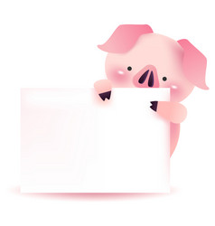 Cute pig character with blank signboard vector