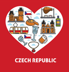 Czech republic country landmarks and food poster vector