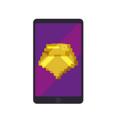 Diamond pixelated videogame vector