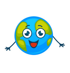 Earth planet smiling cartoon character vector