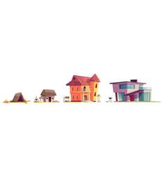 Evolution house architecture cartoon concept vector