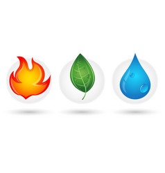 Fire drop and green leaf vector