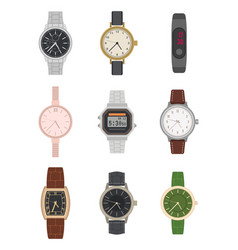 flat wrist watch various mens and womens vector image