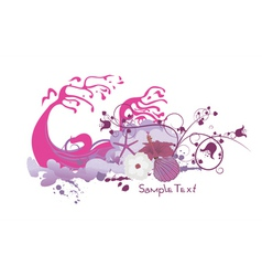 Floral with grunge and sea creatures vector