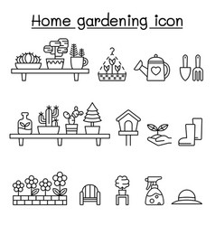 gardening icons set in thin line style vector image