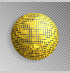 glitter disco ball golden mirrorball isola vector image