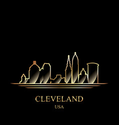 gold silhouette cleveland on black background vector image