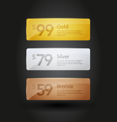 Gold silver and bronze web site buttons templates vector
