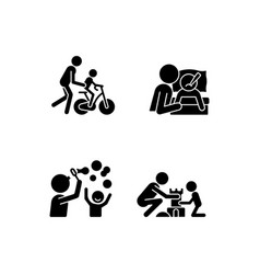 good parenting black glyph icons set on white vector image