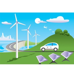 Green car is traveling among green energy sources vector
