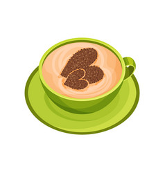 Green cup tasty cappuccino with latte art in vector