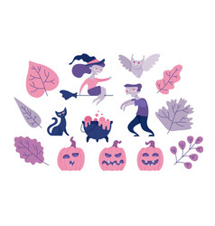 halloween symbols set with various funny and vector image