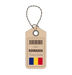 Hang tag made in romania with flag icon isolated vector
