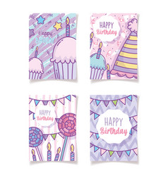happy birthday greeting cards decoration vector image