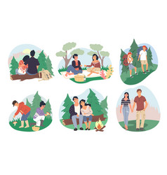 happy couples camping in forest flat vector image
