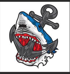 Head shark anchor angry logo black vector
