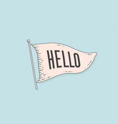 hello engraved flag old vintage trendy flag vector image