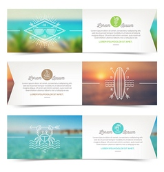 Horizontal banners with line drawing summer vector image
