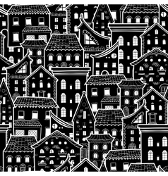 Houses New Pattern Monochrome vector image