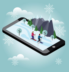 Isometric man and woman skiing mobile navigation vector