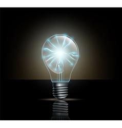 Light bulb with lightning inside on a dark vector