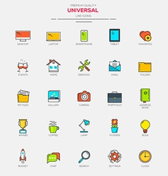 Line flat icons set 1 vector image