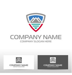 logo design with mountains and river vector image
