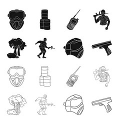 Mask gun paint inventory paintball set vector