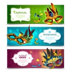 Masquerade Banners Set vector image