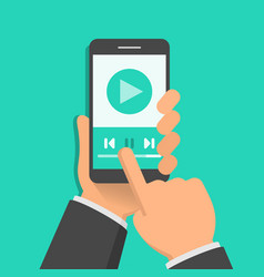 media player app on smartphone screen one hand vector image