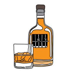 Metaphor alcoholic person in jail liquor vector