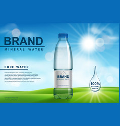 mineral water ad plastic bottle with pure vector image