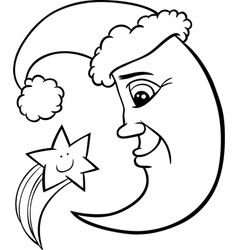 moon and star christmas coloring page vector image