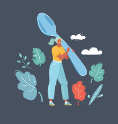 mother cooking with big spoon vector image