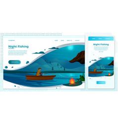 night fishing man on boat vector image