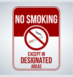 No smoking sign designated areas isolated on vector