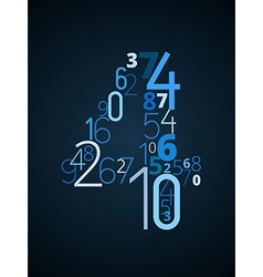 Number 4 font from numbers vector