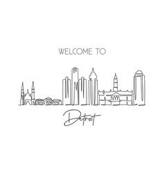one single line drawing detroit city skyline vector image