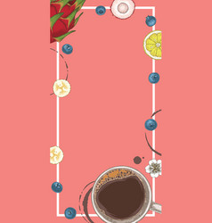 Pink menu template coffee and fruits vector